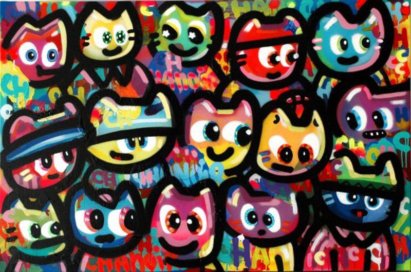 Chanoir - Bande de Cha au Match de Basket, 2015, street art, cats
