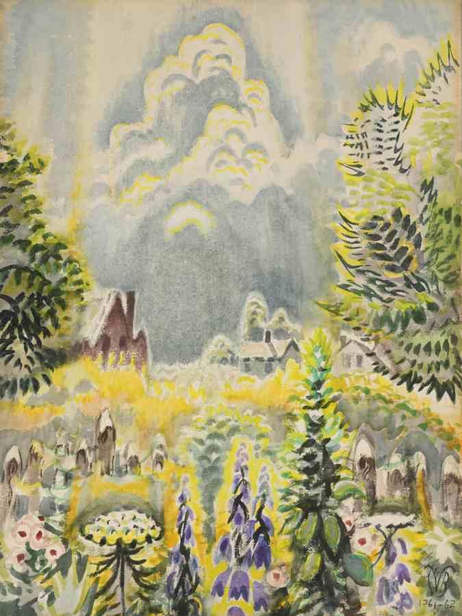 Charles Burchfield-Flower Garden And Pillar Of Cloud-1962