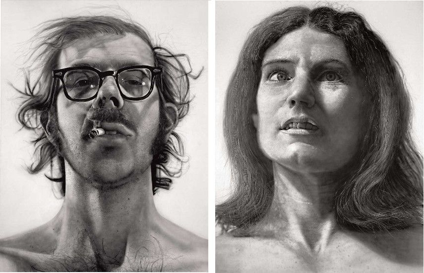 Charles Close - Charles Close - Big Self-Portrait Robert , 1967–1968(Left) --- Cindy Nancy, 1968 (Right)