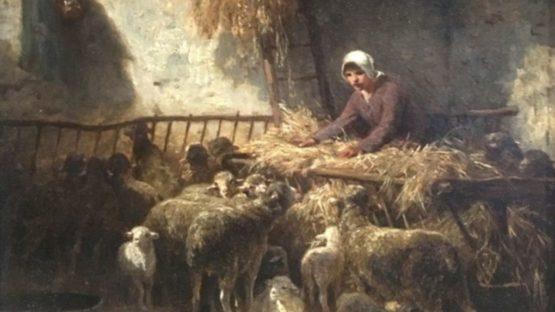 Charles Emile Jacque - Feeding Sheep (detail)