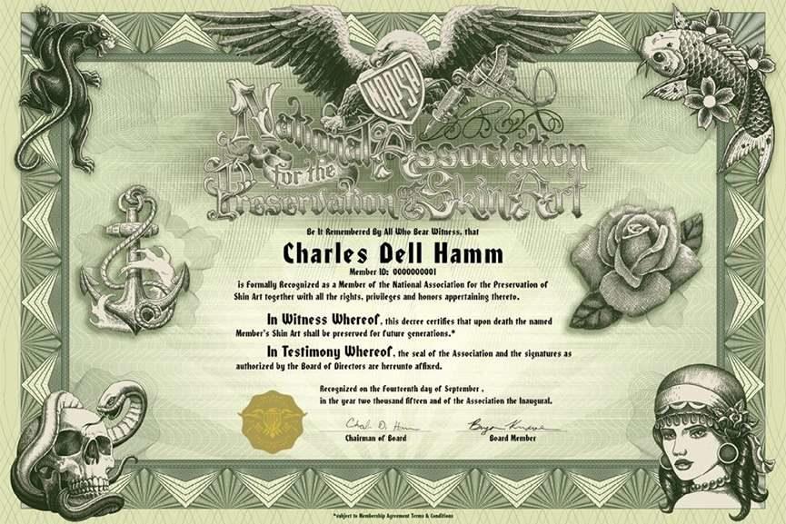 Charles Hamm NAPSA certificate