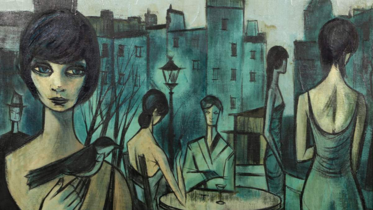 Charles Levier - Cafe Scene in Paris, 1961 (detail)