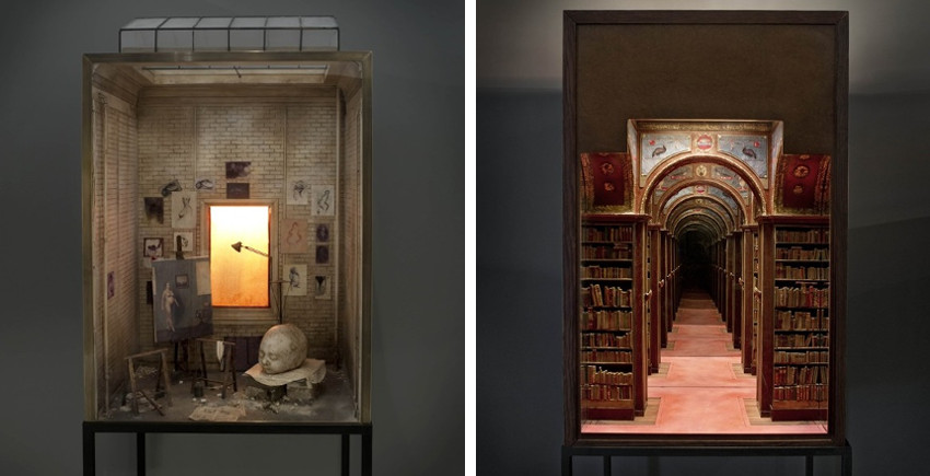 Charles Matton - A Newborn Sculptor's Studio I (fully emerged head), 1990 - The New York University Club Library I (blue walls, painted copper), 2001, visual arts works, and Matton's page search enclosures privacy