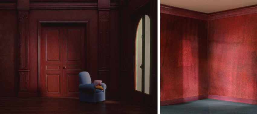 Charles Matton - The Blue Armchair in a Red Living Room, 1986 - The Corner of the Red Wall, 1987, arts enclosures the page