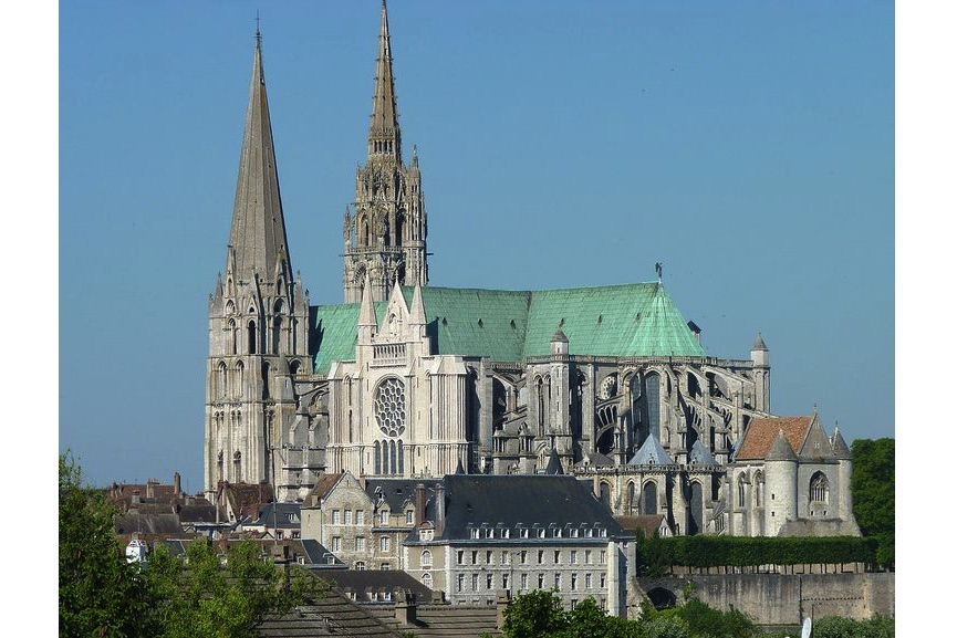 Chartres Cathedral, an example of medieval gothic architecture in France