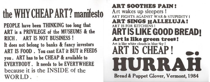 Cheap Art Manifesto, 1984