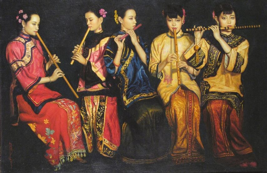 Chen Yifei - Five young women at home