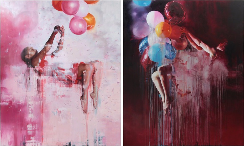 Chloe Early - Queen of The Wild Frontier, 2014 (Left) / Something Shiny Slips Away, 2014 (Right)