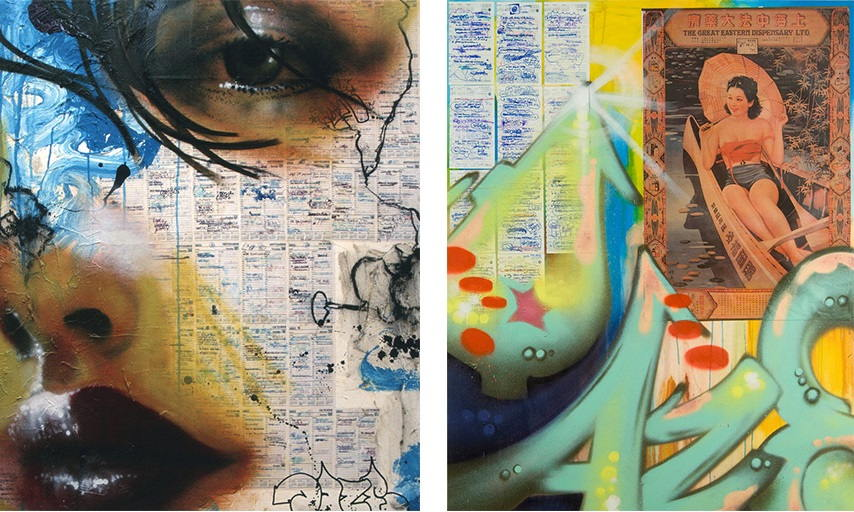 Chris Daze Ellis - Agenda Painting #17, 1999 (Left) ; Agenda Painting #22, 2007 (Right)
