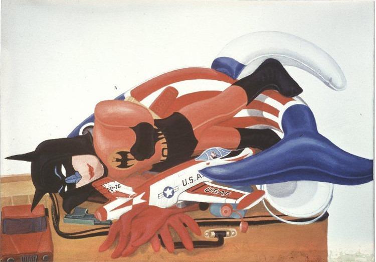 Christa Dichgans - Stilleben mit Batmann, 1967, pop art, painting - exhibited at Daniel Blau