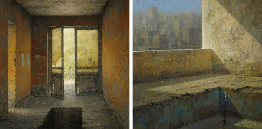 Christian Benoist - L'Entrée Ocre, 2014 (Left) - La Loggia au Bassin, 2014 (Right)