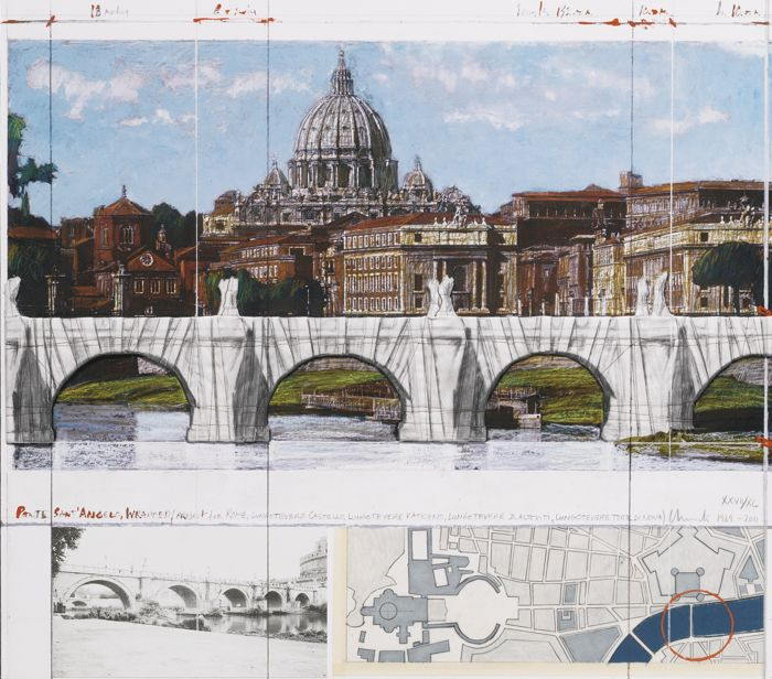 Christo and Jeanne-Claude-Ponte Sant'Angelo, Wrapped, Project For Rome-2011