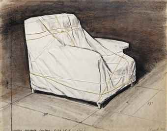 Christo and Jeanne-Claude-Wrapped Armchair (Project- height 34 x 33 x 34)-1975