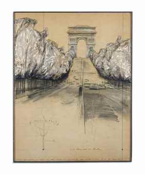 Christo and Jeanne-Claude-Wrapped Trees (Project for Avenue des Champs Elysees and Rond Point des Champs Elysees In Paris - around 380 wrapped trees)-1969