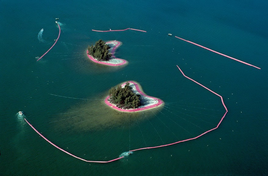 Christo and Jeanne Claude - Documentary photograph of Surrounded Islands Biscayne Bay_
