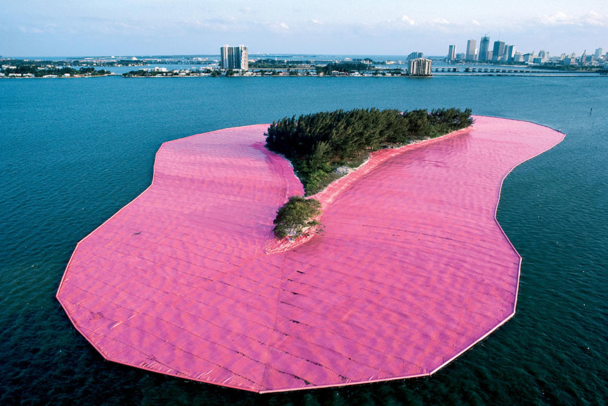 Christo and Jeanne-Claude Surrounded Islands, Biscayne Bay, Greater Miami, Florida, 1980-83 Photo- Wolfgang Volz © 1983 Christo; the river work