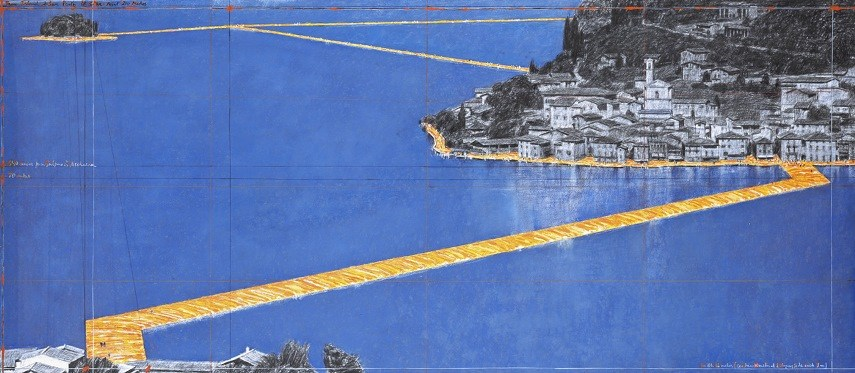 The Floating Piers piers floating 2016 lake iseo fabric sulzano italy june island isola monte yellow wolfgang