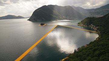 Christo and Jeanne-Claude - The Floating Piers, Lake Iseo, Italy, 2014-16; Photo- Wolfgang Volz © 2016 Christo