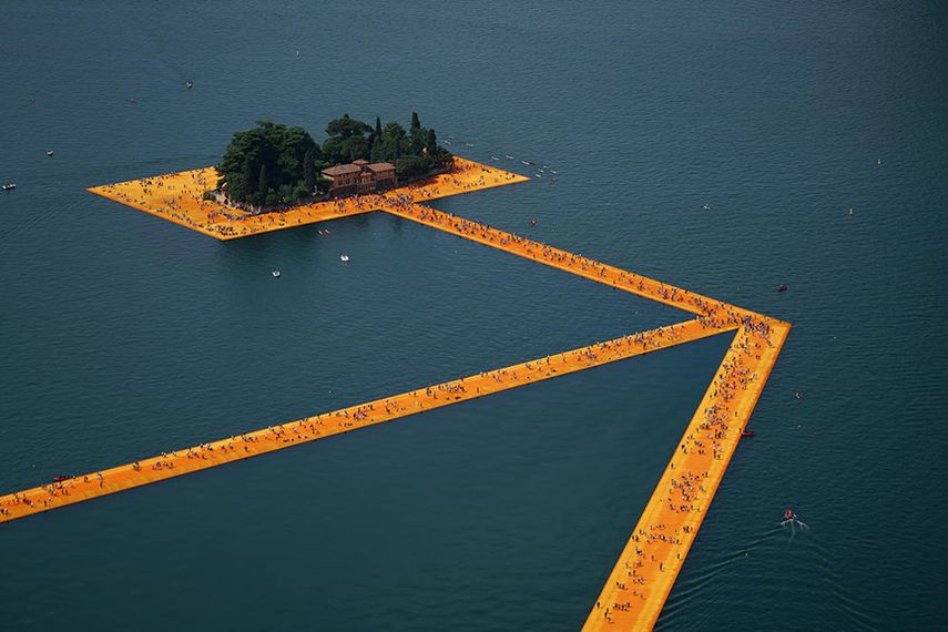 The Floating Piers, Lake Iseo, Italy, 2014-16; one of the latest works on view
