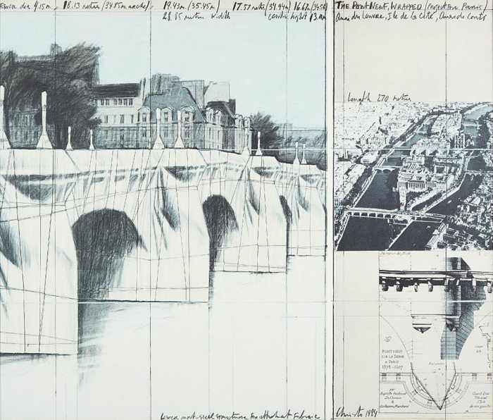 Christo and Jeanne-Claude-The Pont Neuf Wrapped, Project for Paris-1984