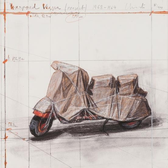 Christo and Jeanne-Claude-Wrapped Vespa, Project; 1963-64-2009
