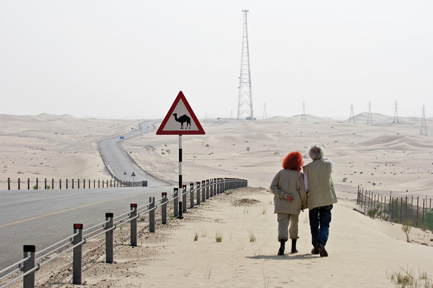 Christo and Jeanne-Claude scouting locations for the site of The Mastaba, October 2007 Photo Wolfgang Volz © 2007 Christo