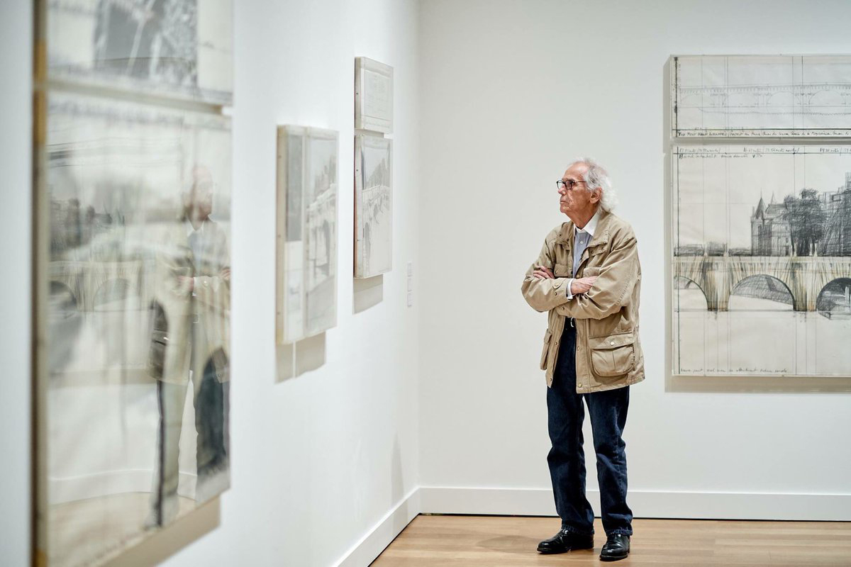 Christo at the 'Christo and Jeanne-Claude. Urban Projects' at ING Art Center Brussels. Photo Jean-Jacques de Neyer