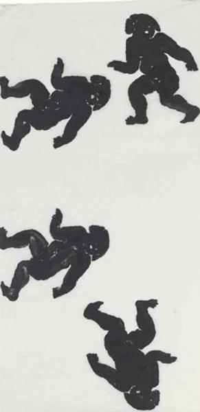 Christopher Wool-Untitled (Wool 1990, Four Man Circle Walking)-1990