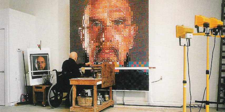 Chuck Close is known for his large scale portraiture works