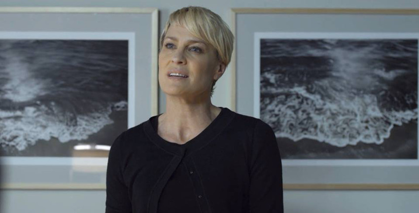 Claire Underwood (Robin Wright) in front of Forman pieces in Claire's office in Netflix TV show sign