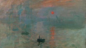 Claude Monet - Impression, Sunrise (detail), 1872, an impressionist water landscape with a rising sun