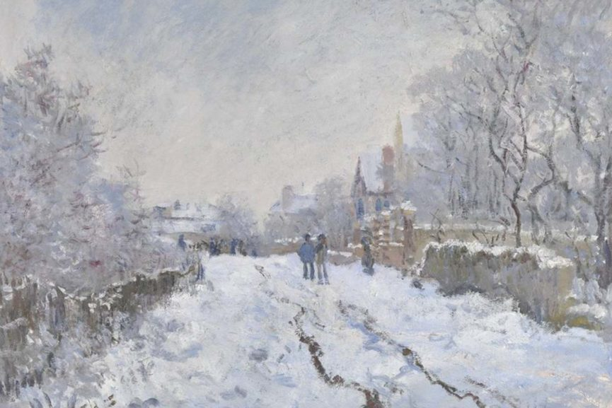 Claude Monet - Snow Scene at Argenteuil, 1875, detail
