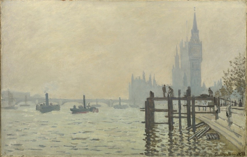 The Thames below Westminster (La Tamise et le Parlement), about 1871