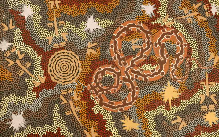 Clifford Possum Tjapaltjarri - Carpet Snake and Kangaroo Dreaming at Mt Denison, 1993, photo credits - Aboriginal Art World australia alice springs national gallery new south
