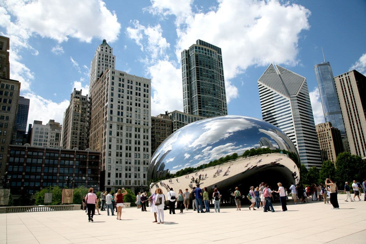 Chicago Bean by Anish Kapoor in Chicago City (33 feet × 42 feet × 66 feet) in Chicago Millennium Park