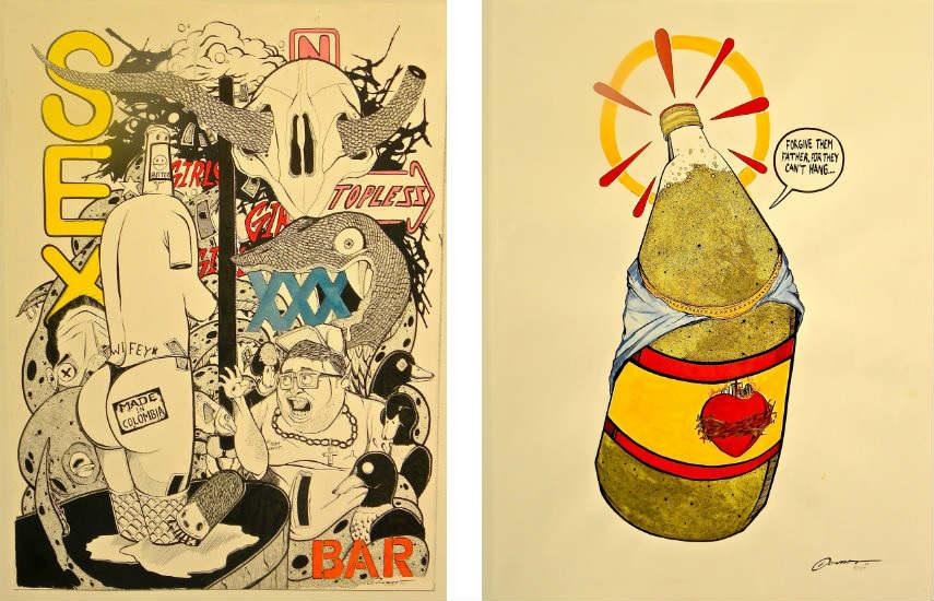 Coinslot - Rain On Da Strip, 2014 (left) - Forgive Them Father, 2014 (right)