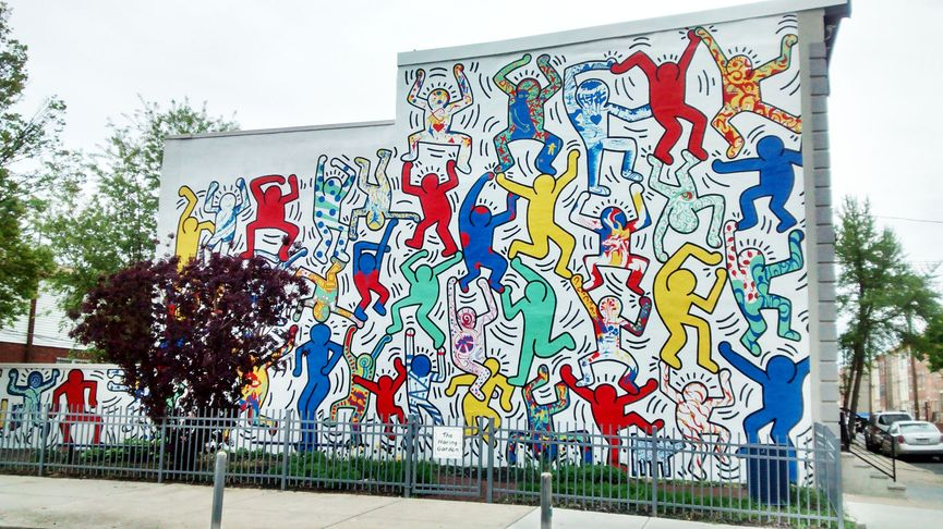 Collaborative mural with Citykids, 1987, perserved by Keith Haring Foundation over time