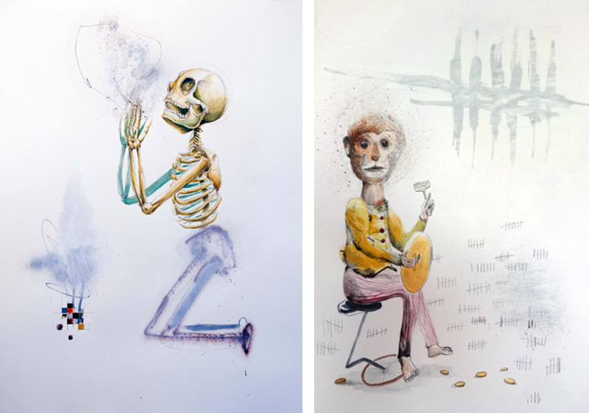 Collin van der Sluijs - Pray For Nothing, 2016 (left) Untitled, 2016 (right)