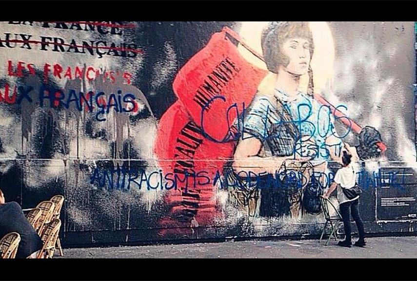 combo, nationalist graffiti, paris, mural, culture, work, time