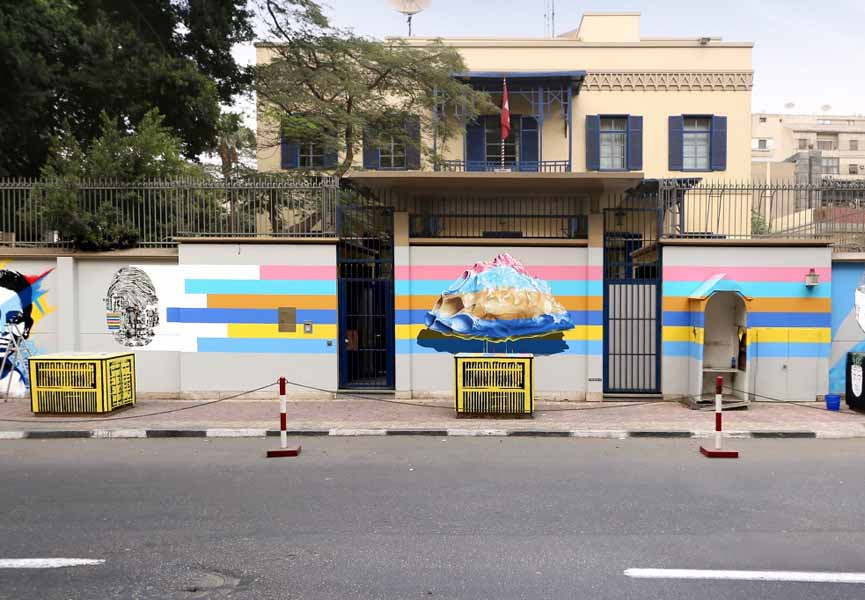 Compelling Machine n2. Mural painting realized in Cairo (Egypt) for the project On identity and fingerprints
