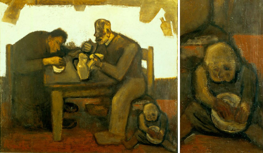 Constant Permeke - Het Dagelijkse Brood, 1950 (Left) - Detail (Right), photo credits reddit.com search artist page home arts 1952 museum contact ostend email