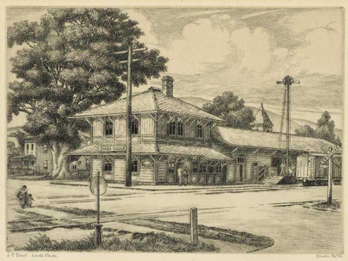 Cornelis Botke-Train Depot Santa Paula-1930