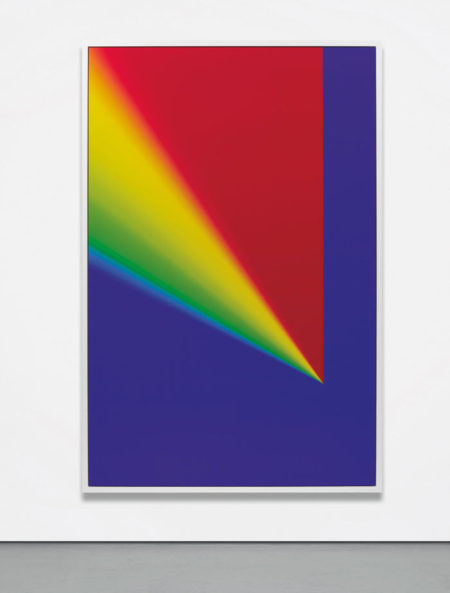 Cory Arcangel-Photoshop CS: 110 by 72 inches, 300 DPI, RGB, square pixels, default gradient Russell's Rainbow (turn transparency off), mousedown y=25300 x=17600, mouse up y=4300 x=17600-2009