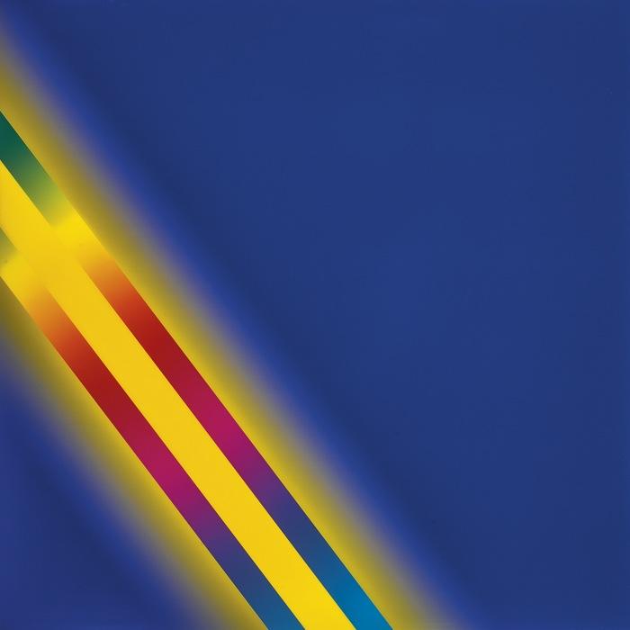 Cory Arcangel-Photoshop Cs: 60 By 60 Inches, 300 Dpi, Rgb, Square Pixels, Default Gradient Blue, Yellow, Blue, Mousedown Y=10750 X=10300, Mouseup Y=16800 X=2300; Tool Wand, Select Y=6850 X=2300, Tolerance=40, Contiguous=Off; Default Gradient Spectrum, Mousedown Y=17650 X=10350, Mouseup Y=4050 X=250-2013