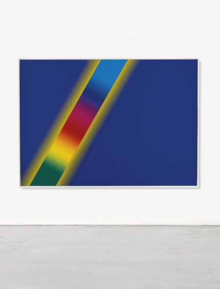 Cory Arcangel-Photoshop Cs: 60 By 84 Inches 300 Dpi Rgb Square Pixels Default Gradient 'Blue Yellow Blue' Mousedown Y=12000 X=0 Mouse Up Y=17640 X=9900: Tool 'Wand' Select Y=6550 X=9650 Tolerance=100 Contigous=Off Default Gradient 'Spectrum' Mousedown Y=2800 X=11750 Mouseup Y=15630 X=4350-2013