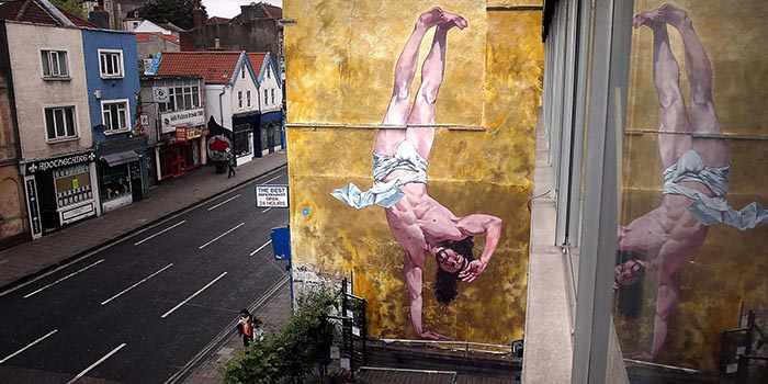 Cosmo Sarson - Jesus breakdancing mural in Bristol, 2013