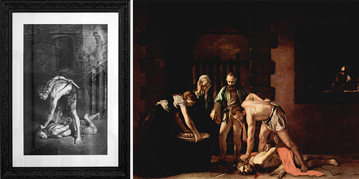 Cosmo Sarson and Caravaggio - The Beheading of Saint John the Baptist, 2015 and  1608