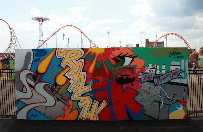 Coney Island Art Walls: Shepard Fairey, Ben Eine, How and Nosm, Daze and CRASH