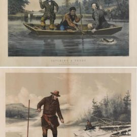 Currier & Ives-Currier & Ives (Publishers) - Catching a Trout; American Winter Sports: Trout Fishing