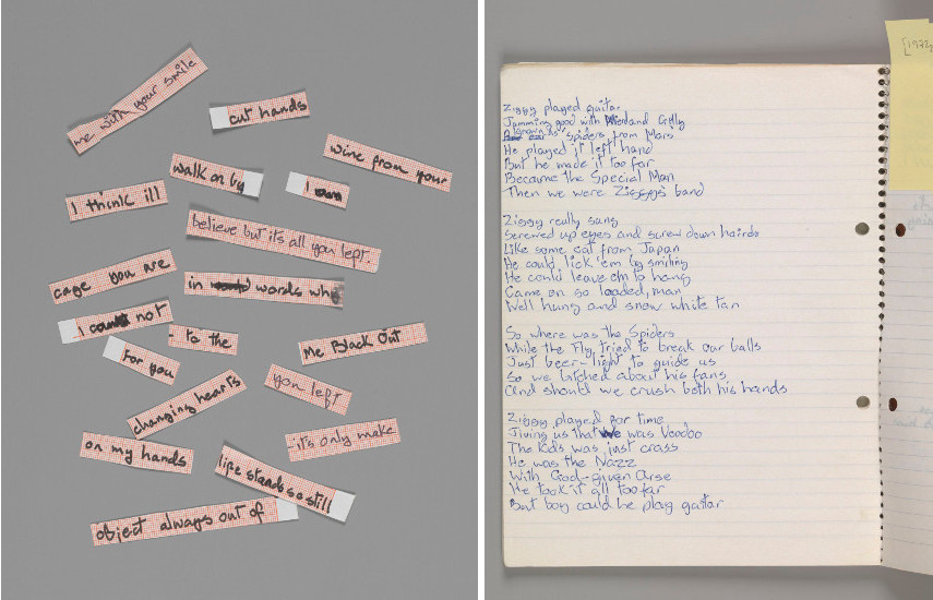 "Cut up lyrics for ""Blackout"" from Heroes, 1977 - Original lyrics for ""Ziggy Stardust,"" by David Bowie, 1972"